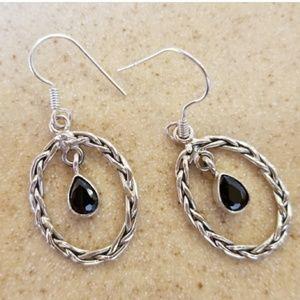 "1ct Black Tourmaline Dangle Earrings 1.5"""